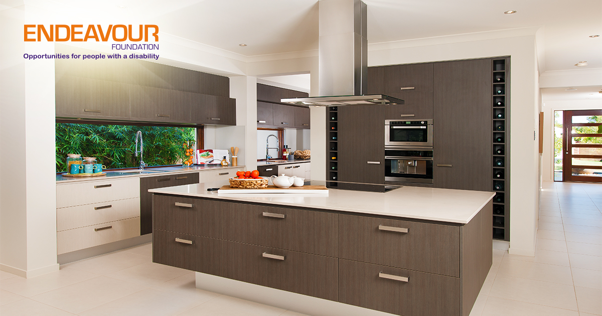 Open plan kitchen in prize home