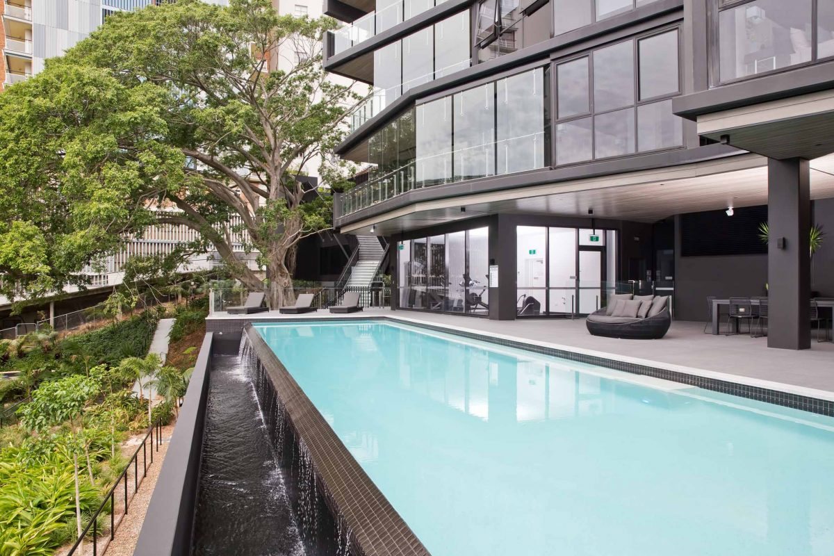 Luxury apartment in Brisbane with swimming pool.