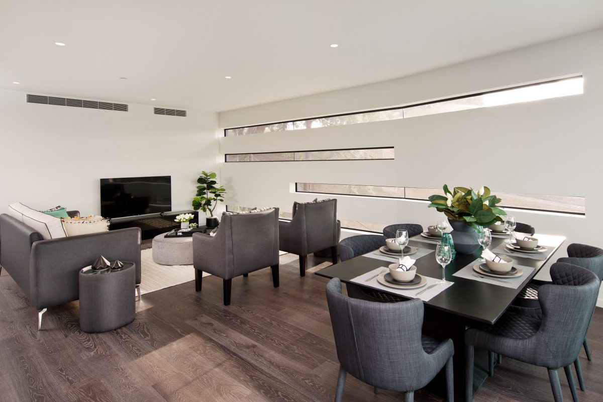 Open plan living and dining area.