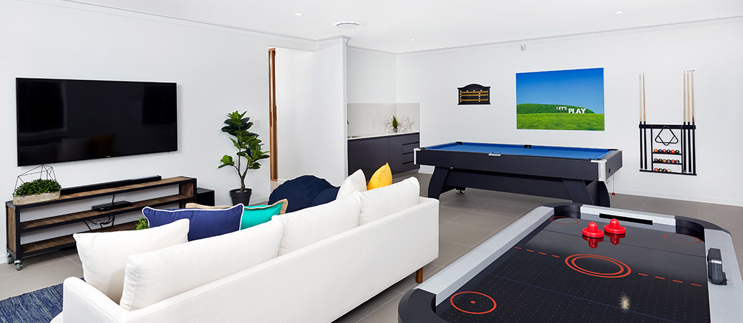 A games room to entertain family and friends.