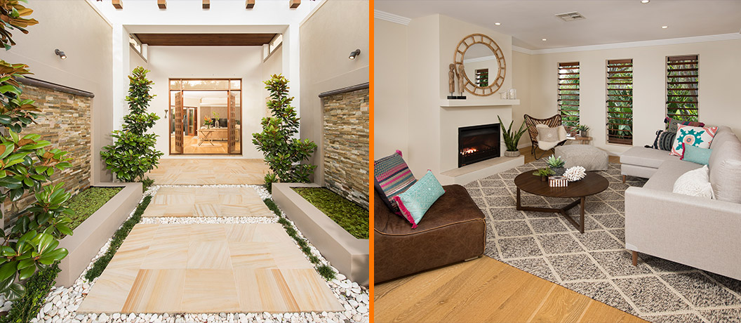 Luxury prize home with natural tones and decor.