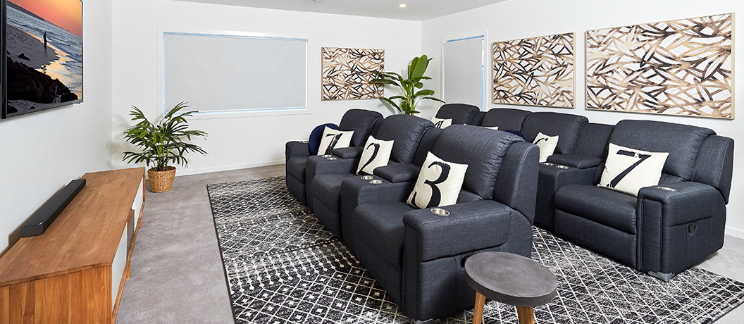 Private theatre room in Bribie Island Mater Prize Home