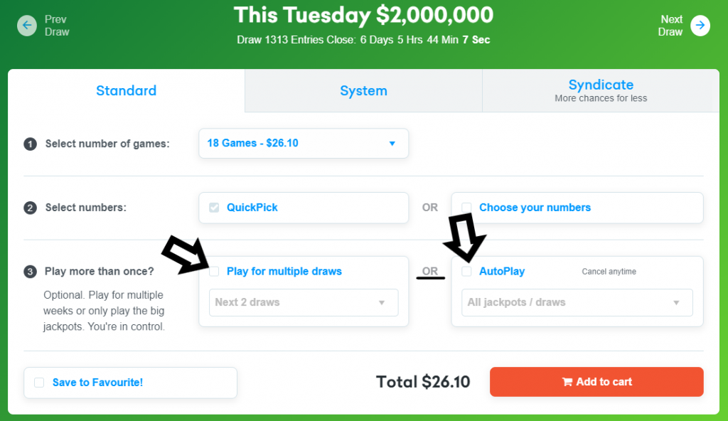 Choose to play multiple draws or AutoPlay