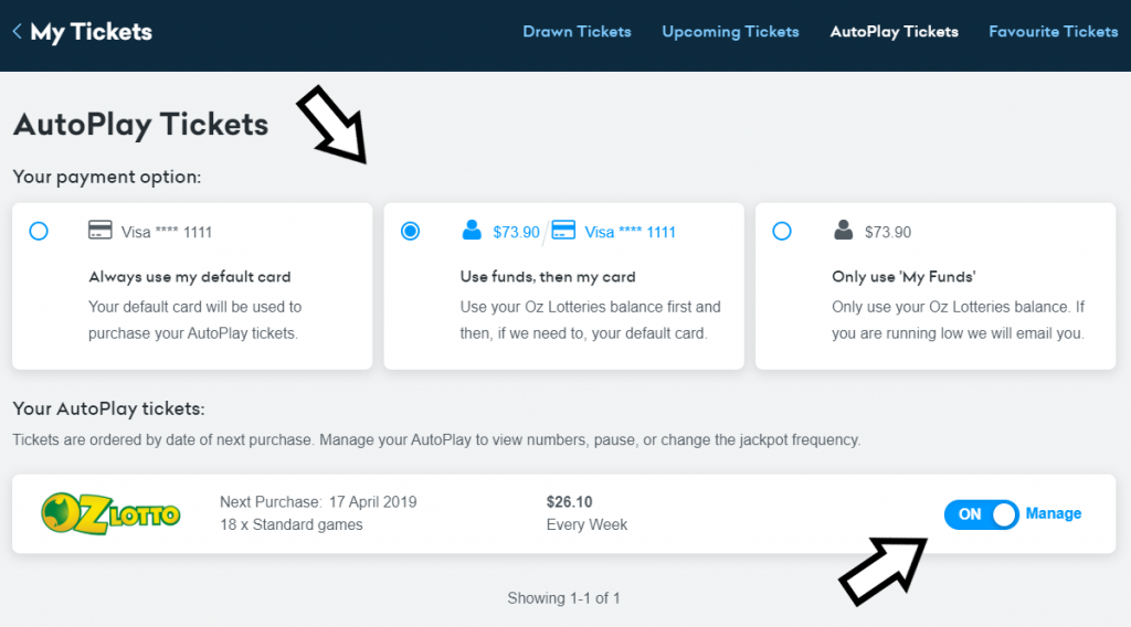 Manage from your account - payment options and settings.