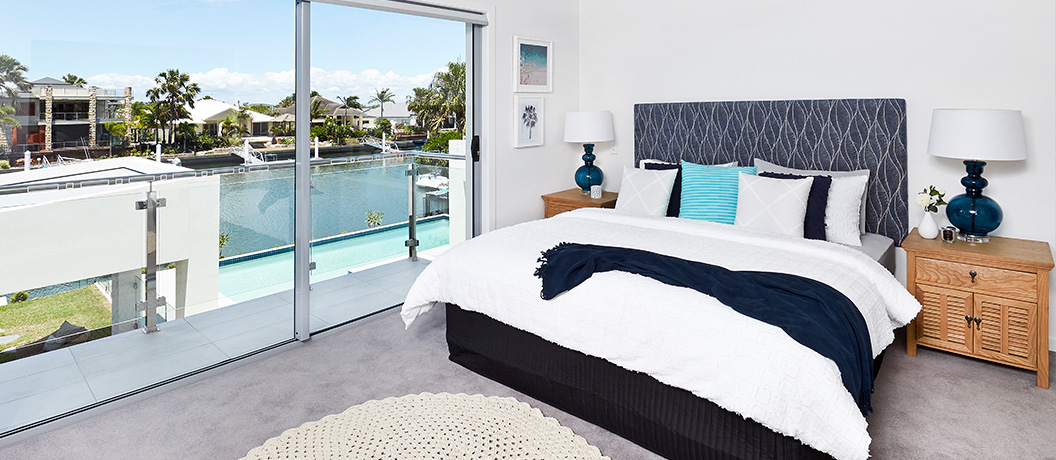 Master bedroom with water views in Bribie Island prize home