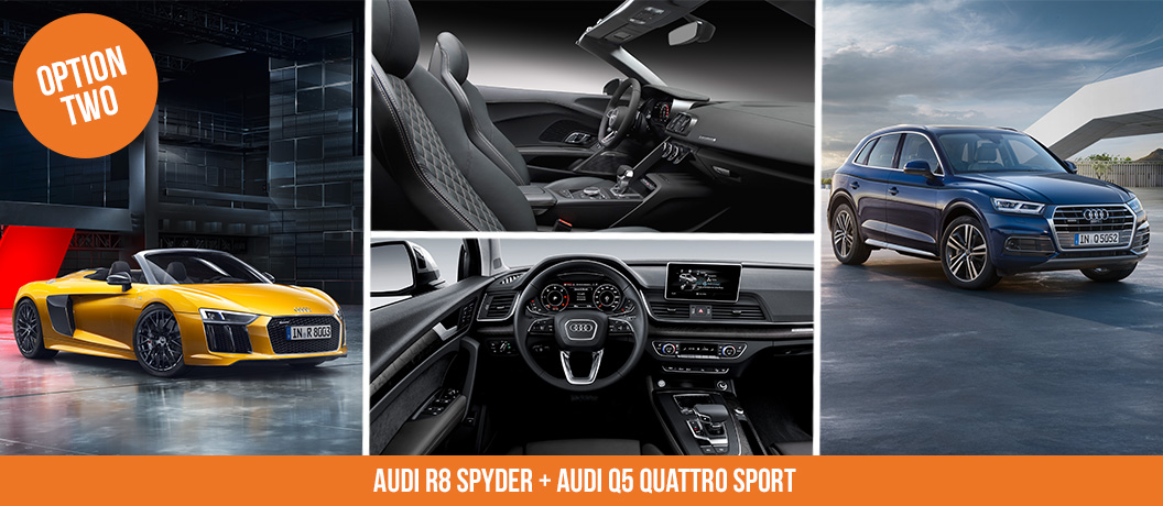 Win a supercar package with Audi R8 Spyder + Audi Q5 Quattro Sport