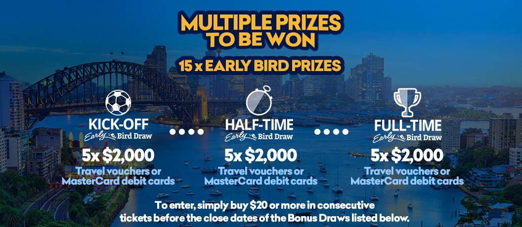 114 Additional Prizes to be won with Early Bird, Half Time and Full Time Bonus Draws!