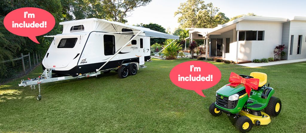 Win a Jayco caravan valued at $46,500 and John Deer Ride on Mower valued at $2,799.