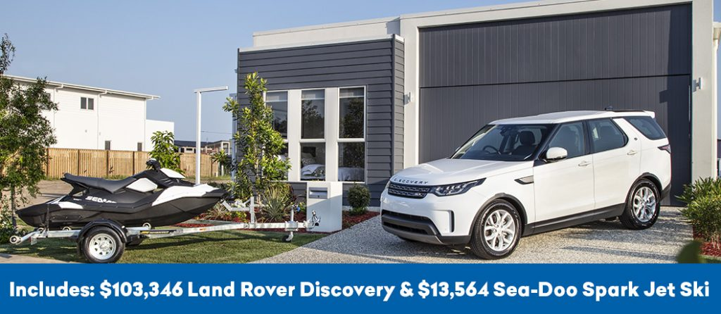 First prize includes Land Rover Discovery and Sea-Doo Jet Ski.