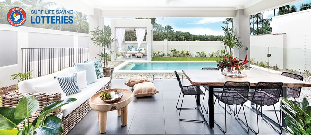 Alfresco area with pool and pavilion.