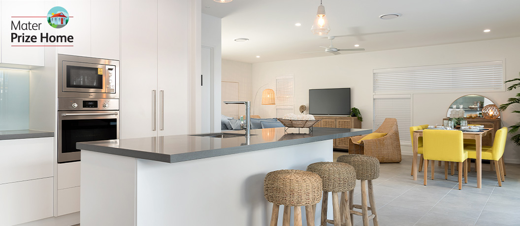 Open plan living - kitchen and dining area.